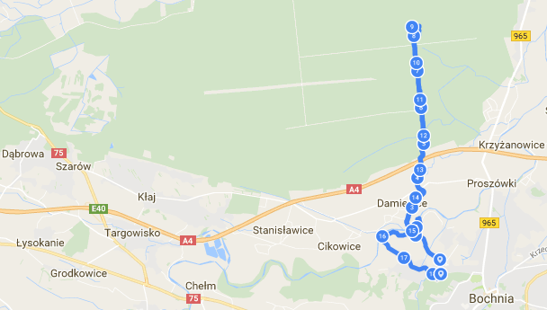 Map from Endomondo, just over 18km in total